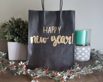 Happy new year - New Years Party Gift Bag - Party Favors - Custom Gift Bag - Gift Bags - Handlettered Gift Bag - New Years Decor