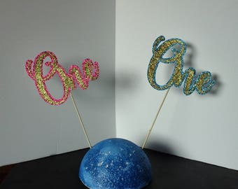 "1st BIRTHDAY,  ""One"",  Cupcake Toppers   in Glitter-choose two Color"