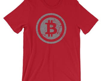 Bitcoin Logo Vintage Style Blockchain Transaction Tee | Cryptocurrency Digital Currency Crypto Coin Cool T-Shirt | Worldwide Cryptocurrency