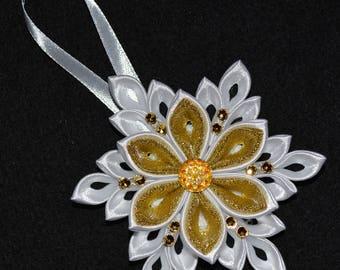 Handmade Snowflake CHRISTMAS Tree Decoration/Ornament, Kanzashi Style, FREE UK Delivery