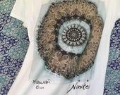 MERMAID, SEA TURTLE, Brown Mandala, T-shirt - cap sleeves –, cotton tee, for adults – handmade in Hawaii
