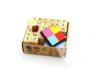 Set of Alphabet stamps + rubber stamp-4 colors