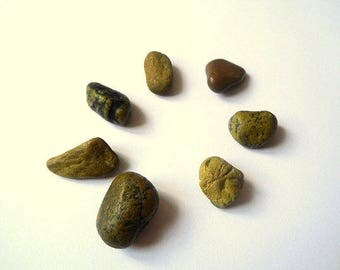 Green Beach Pebbles, Beach Stones, Sea Stones, Stone Beads, Undrilled Stones