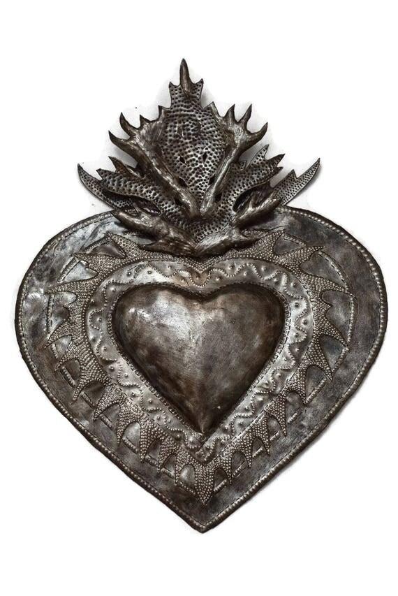 "Flaming Heart, Erzuli, Recycled Steel Art made in Haiti, Hand Cut in Haiti 13"" x 16"""