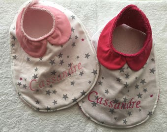 Set of two bibs with Peter Pan collar pink