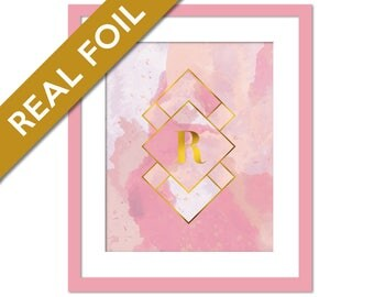 Custom Monogram Gold Foil Print Print - Gold Pink Watercolour Personalized - Single Letter Poster - Custom Initial Wall Art - Customized Art