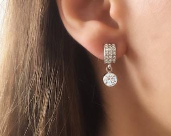 crystal earrings,Huggie Earrings, Bridesmaids gift, Zirconia Crystal Platinum Plated Dangle Earrings Wedding Jewellery
