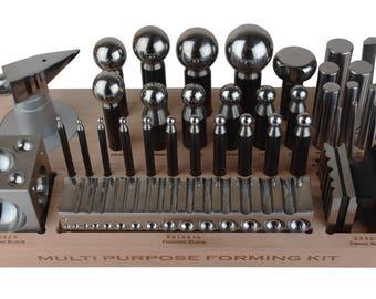 43 Piece Multi-Purpose Metal Forming Dapping Set w/ Block, Anvil, & Swage Jewelry Making Repair Metal Forming Tool - FORM-0131