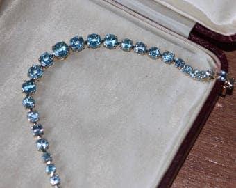 A Wonderful Statement Gold Blue Topaz Bracelet   SKU1455