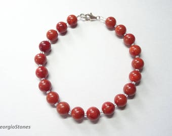 Natural Red Orange Coral Beaded Bracelet, Sterling Silver 925, Handmade in Greece