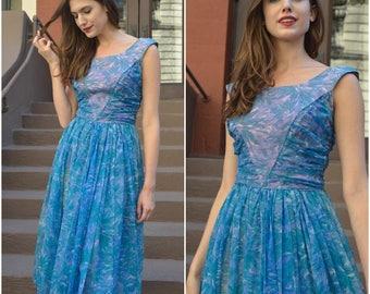 ON SALE Blue Floral Chiffon dress |  vintage 1950s dress | 50s blue floral chiffon party dress
