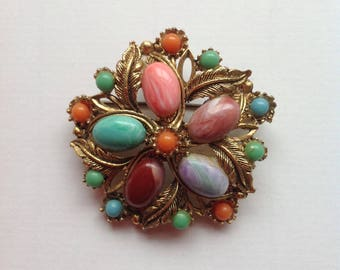 Vintage Large Floral Multicolour Faux Gemstone Brooch