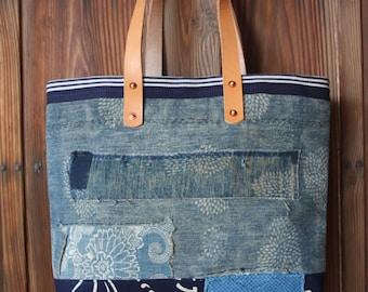 Vintage Japanese sashiko stitched indigo katazome boro tote bag