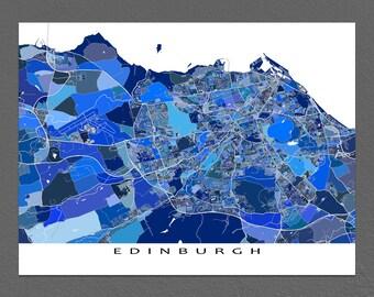 Edinburgh Map, Edinburgh Print, Scotland UK City Art Maps, Blue