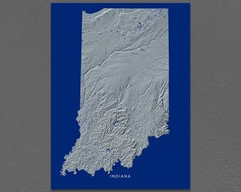 Indiana Map, Indiana Wall Art, IN State Art Print, Landscape, Navy Blue