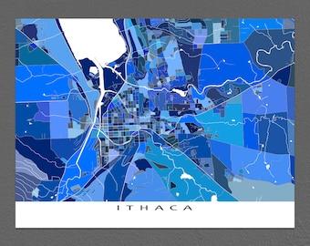 Ithaca Map, Ithaca NY City Map Art, New York, Cornell University
