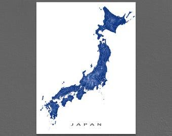 Japan Map, Japan Print, Tokyo, Japan Wall Art, Country Maps