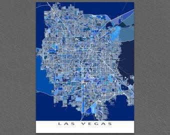 Las Vegas Map Print, Las Vegas Nevada, Vegas Strip, City Art