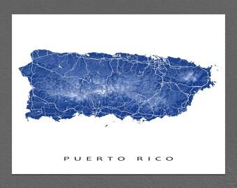 Puerto Rico Map Print, Puerto Rico Art, Caribbean Island Maps