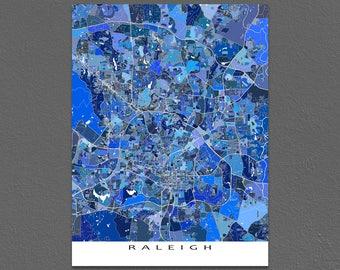 Raleigh North Carolina, Raleigh NC Map Print Blue City Art Prints