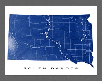 South Dakota Map Print, South Dakota State Art, USA