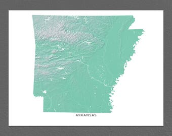 Arkansas Map Print, Arkansas State, Aqua, AR Landscape Art