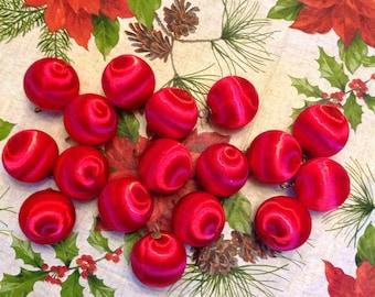 Vintage red satin tree ornaments
