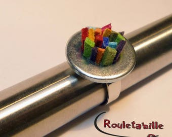 """""""Punk washer"""" ring, multicolor, silver metal"""