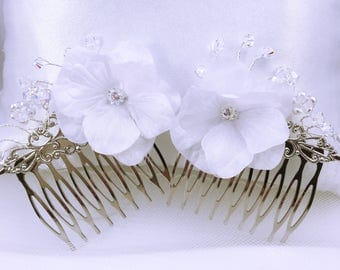 Wedding hair comb / Wedding comb / Duo bracelet and comb white flowers
