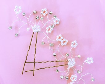 Wedding bun pearly white pearls and rhinestones / hair rhinestone Wedding / Bride hair accessorie