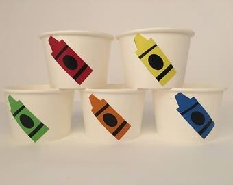 Crayon Party Cups, Crayon Birthday, Art Birthday, Coloring party