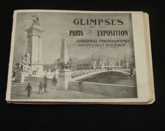 Vintage worlds fair book-Glimpses of the paris exposition booklet-rare old world's fair book-old paris book -1900 paris exposition