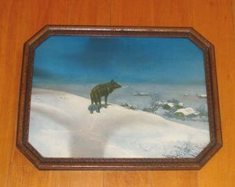 Vintage lone wolf print-art deco lone wolf print-alfred kowalski borin chicago deco print-art deco frame-southwestern art print-southwest