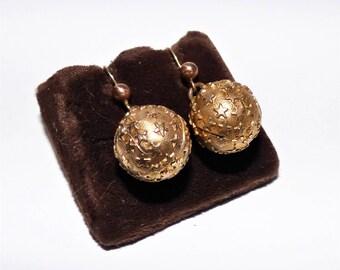 Victorian Gilded Star & Moon Drop Earrings Golden Orb Dangling Earrings with Embossed Stars Pierced Wires Delicate Victorian Earrings