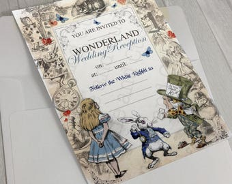 Alice in Wonderland Instant Download Wedding Reception Invitation Mad Hatter Tea Party invite