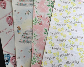Vintage gift wrapping paper, Birthday themed, birthday cake, roses,  4 designs & sheets