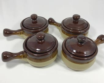 Set of (4) Four Vintage 1970's Brown Stoneware French Onion Soup Crocks / Bowls with Lids and Handles - Earthenware Glazed Ceramic Dish Set