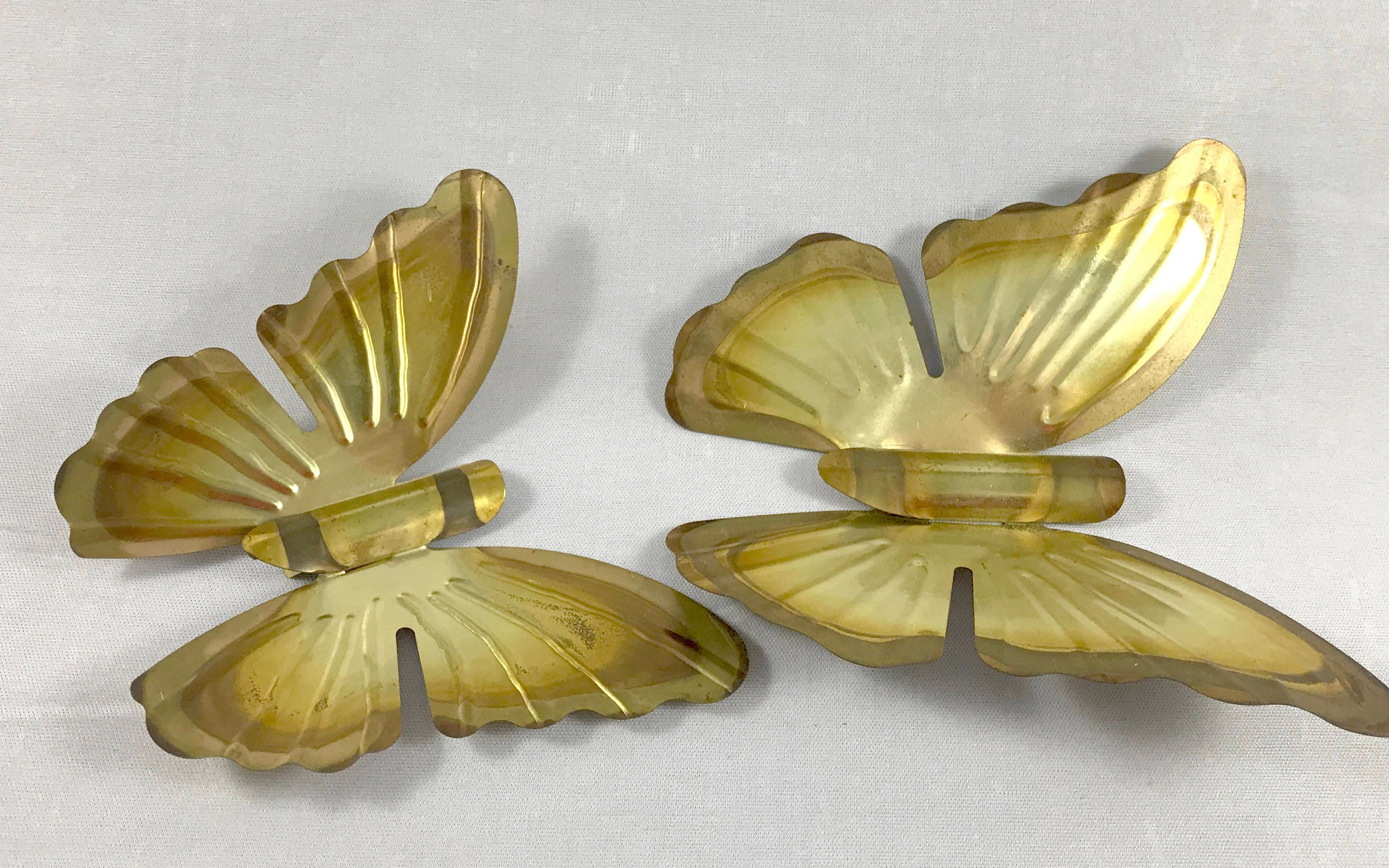 Vintage Butterfly Wall Hangings - Brass Tone Figural Tin Butterflies ...