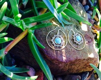 Turquoise Hoop Earrings Bali Style