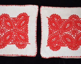 One Pair Vintage Traditional Kalotaszegi Hand Embroidered Pillow Case from the 70s