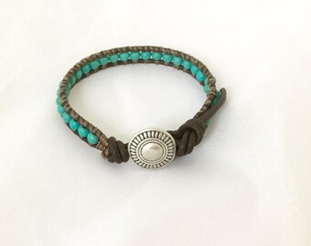 Beaded leather bracelet with turquoise beads (turquoise wrap bracelet; turquoise on leather cord)