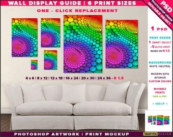Wall Display Guide | 6 Print Sizes Photoshop Mockup | 24x36 20x30 16x24 12x18 8x12 4x6 | Movable Portrait Unframed Print | Sofa interior