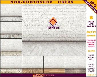 Empty Room JPG Interior Scene ER-C1 | Non-Photoshop | Blank White Brick Wall | Wooden Floor | Product Display Scene Creator
