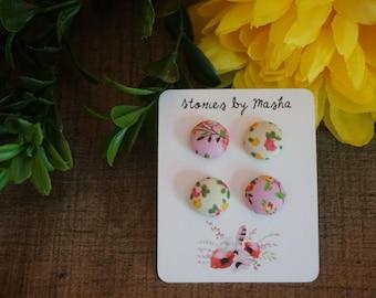 Flower fabric button earring studs