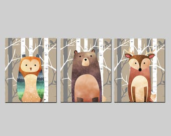 Nursery printable set of 3 wall art baby room decor bear deer and owl in the forest child room art download, woodland playroom decor