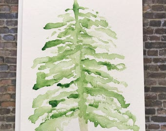 watercolor christmas tree card hand painted christmas tree card christmas cards - Christmas Tree Card