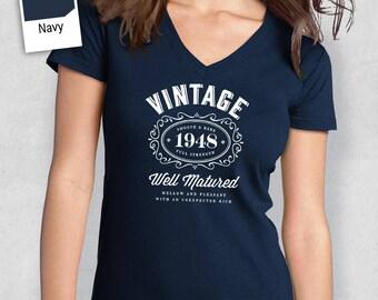 70th Birthday, Women's V-Neck, 70th Birthday Idea, 70th Birthday Present, or Birthday Gift. 1948 Birthday, For The Lucky 70 Year Old!