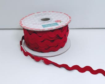 3/4 inch Ric Rac-Crimson (5 Yard Bundle) Riley Blake Designs