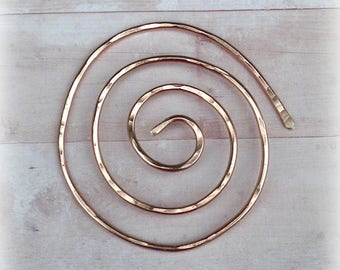 Copper Spiral Shawl Pin Penannular Mimimalistic Brooch Vintage Hammered Minimalist  Style Scarf Pin Outlander Stick Pin
