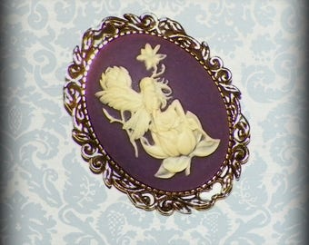 Fiary Pin Brooch Purple Cameo Victorian Lady Vintage Style Steampunk Antique  Gold Style